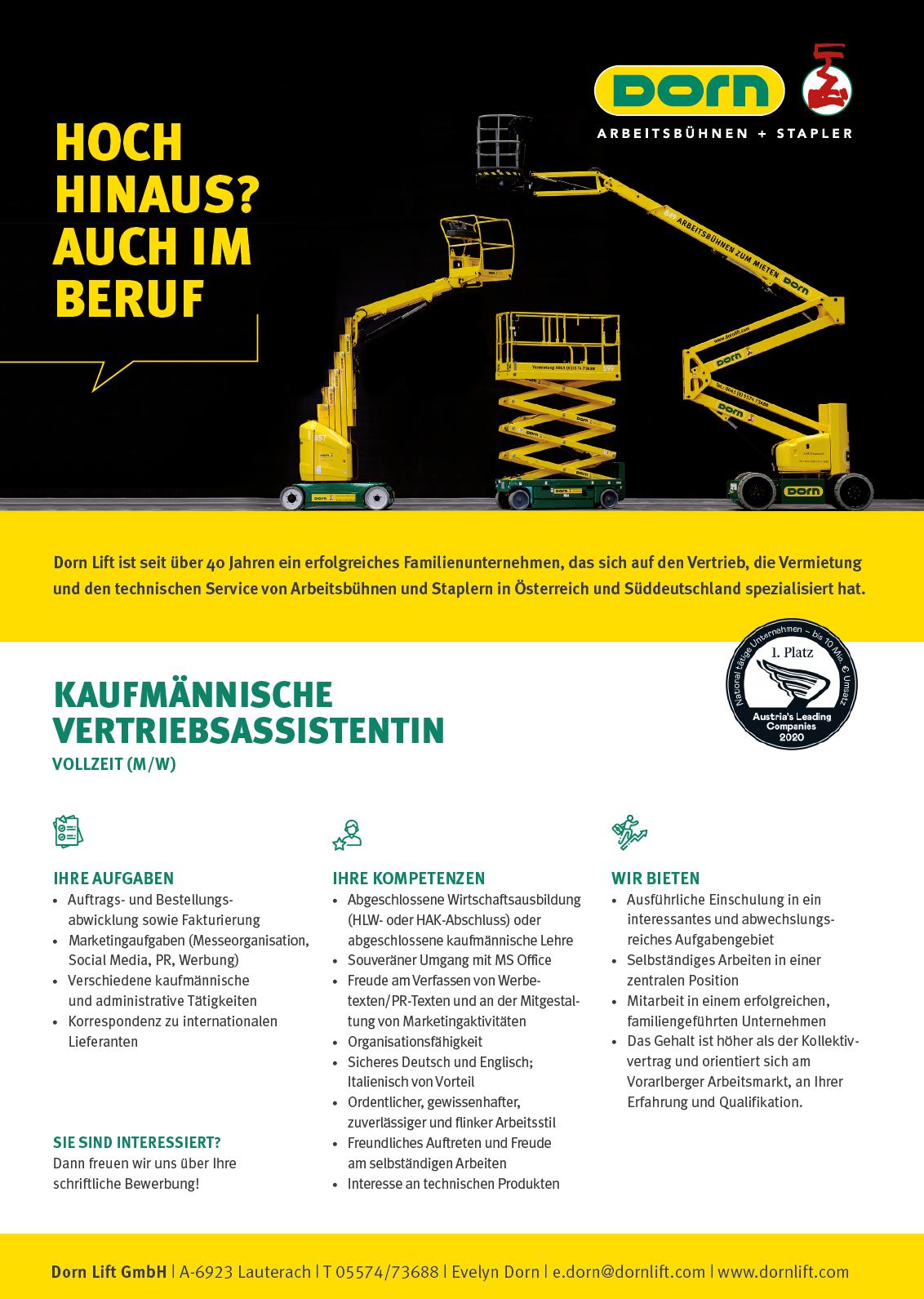 Dorn Lif Arbeitsbühnen - Kaufmännische Vertriebsassistentin-job-stellenangebot